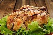 Bondage shibari roasted chicken with salad leaves