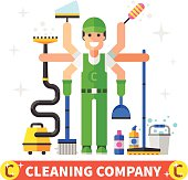 Cleaning company. Vector flat illustration