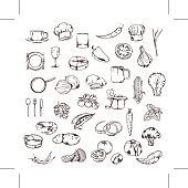 Food, sketches of icons, vector set