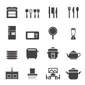Kitchen room icon set