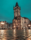 Old Town Square in Prague at night, toned image