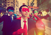 Chinese Ethnicity Businessmen Superheroes Power Concept