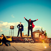 Superhero Business People Strength Cityscape Team Concept