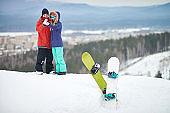 Selfie on snow hill