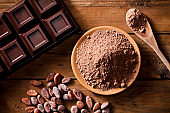 Chocolate bar, cocoa beans and ground cocoa shot directly above
