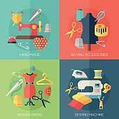 sewing dress, accessories, hand made icons. Concepts for web banners