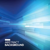 Abstract blue geometric background. 3D perspective background with 3D lines.