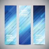 Blue low poly vector vertical banners with polygonal abstract lines.
