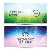 Bright horizontal abstract geometric, low poly, polygonal banners template design.