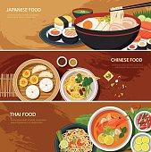 asia street food web banner , thai food , japanese food , chines