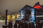 Restaurants on town square in Oulu Finland