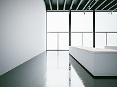 Empty white expo interior and black ceiling. 3d render
