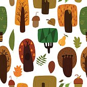 Forest seamless pattern with trees and leaves. Seamless pattern