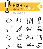Kitchen Utensils line icons