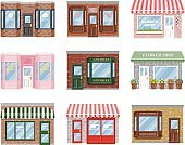 Old Fashioned Storefront Icon Set
