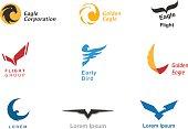 Birds branding symbols vector set