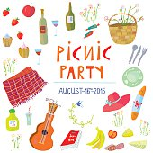 Picnic party banner  - vector illustration