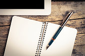 Vintage image of digital pad and old fountain pen
