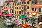 View of the Grand Canal shore and terraces , Venice, Italy
