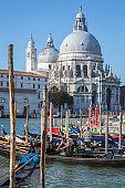 Gondolas and Santa Maria della Salute, Venice, Italy