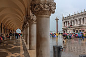 Rainy day in San Marco Square , Venice Italy