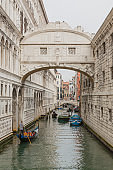 Gondolas and boats under the Bridge of Sighs in Venice