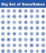 Big set of snowflakes. Sixty-four different forms.