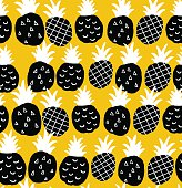 Seamless background with black and white pineapples on the yellow background.