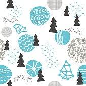Seamless pattern in modern Scandinavian style.