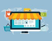 Concept of online shopping by electronic funds, flat design of icons