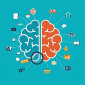 Brain with icons concept for web and mobile apps
