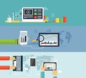 Business infographics by using modern of digital devices for int