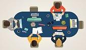 Teamwork for computers online. Business strategy, development pr