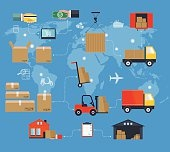 Concept of services in delivery goods. World concept of delivery