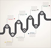 Road infographic timeline stepwise structure with icons