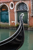 Gondolas moored in Venice, Italy