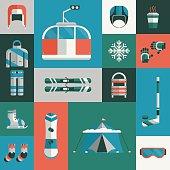 Winter Sports Gear Flat Icon Set