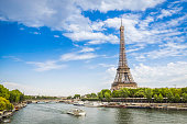 Eiffel Tower from low angle with Seine River
