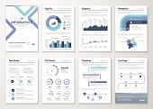 Big collection of infographic elements and business brochures