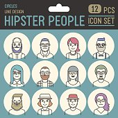 Hipster people line design circle icon set. Trendy vector illustrations.