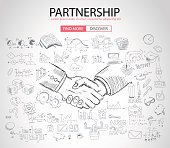 PartnerShip concept  with Doodle design style