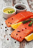 A snapshot of fresh salmon filets set in a tasteful way