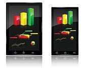 Smartphone and Tablet with Charts and Graph on Display