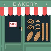 Retro style local bakery shop store. Bread products in window