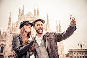 Tourists at Duomo cathedral,Milan