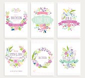 Romantic Floral hand drawn card set.