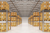 Distribution warehouse logistics, package shipment, freight transportation and delivery concept