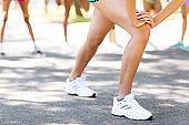 Low Section Of Marathon Runner Warming Up