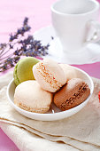 Macaroon in a white bowl