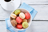 Various macaroon in a bowl on the boards